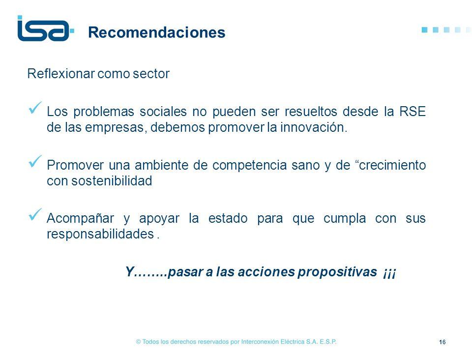 Recomendaciones Reflexionar como sector Los problemas sociales no pueden ser resueltos desde la RSE de las empresas, debemos promover la innovación. P