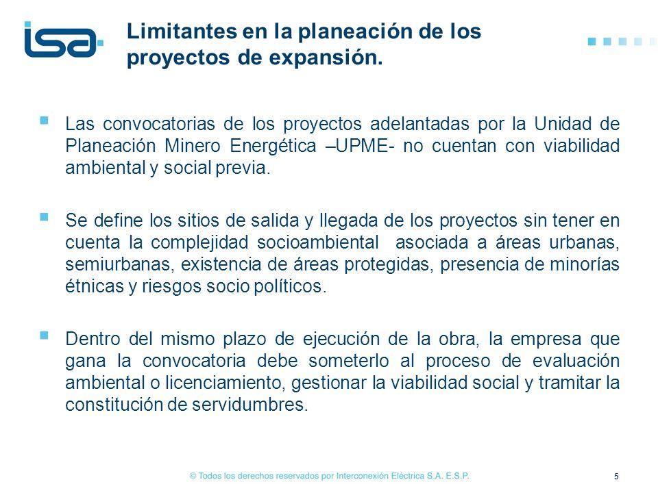Las convocatorias de los proyectos adelantadas por la Unidad de Planeación Minero Energética –UPME- no cuentan con viabilidad ambiental y social previ
