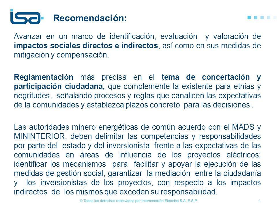 La guía de gestión socio ambiental que se formule para el sector puede incluir un % fijo de compensación social.