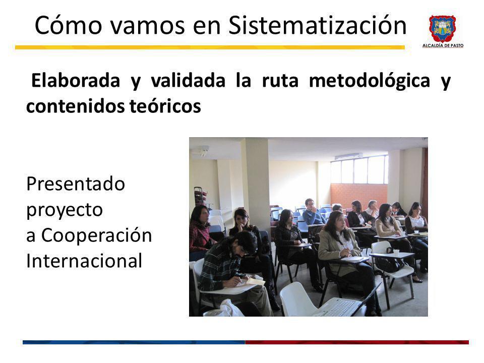 Elaborada y validada la ruta metodológica y contenidos teóricos Presentado proyecto a Cooperación Internacional Cómo vamos en Sistematización