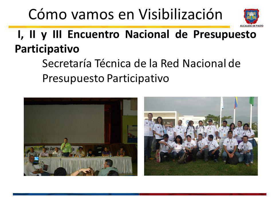 I, II y III Encuentro Nacional de Presupuesto Participativo Secretaría Técnica de la Red Nacional de Presupuesto Participativo Cómo vamos en Visibilización