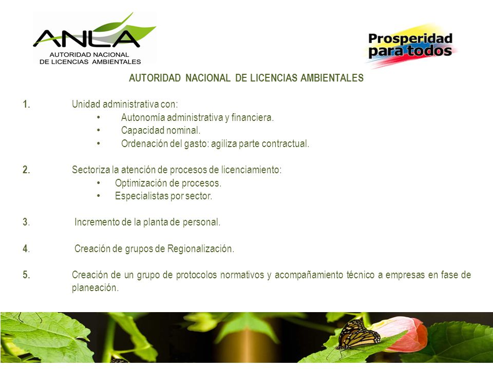 AUTORIDAD NACIONAL DE LICENCIAS AMBIENTALES 1. Unidad administrativa con: Autonomía administrativa y financiera. Capacidad nominal. Ordenación del gas