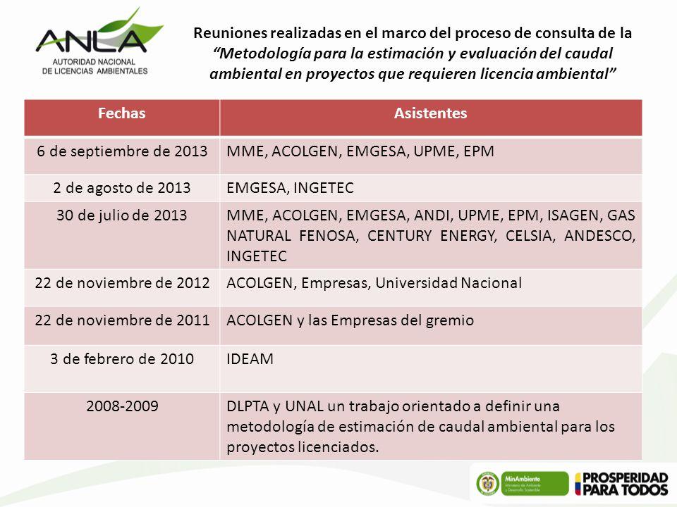 FechasAsistentes 6 de septiembre de 2013MME, ACOLGEN, EMGESA, UPME, EPM 2 de agosto de 2013EMGESA, INGETEC 30 de julio de 2013MME, ACOLGEN, EMGESA, AN
