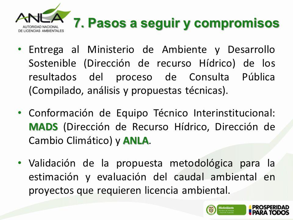 7. Pasos a seguir y compromisos Entrega al Ministerio de Ambiente y Desarrollo Sostenible (Dirección de recurso Hídrico) de los resultados del proceso