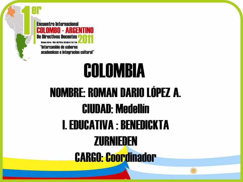 COLOMBIA NOMBRE: ROMAN DARIO LÓPEZ A. CIUDAD: Medellín I. EDUCATIVA : BENEDICKTA ZURNIEDEN CARGO: Coordinador
