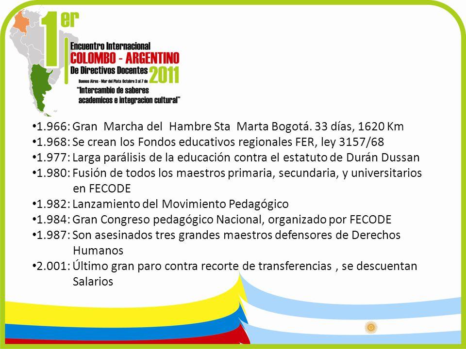 1.966: Gran Marcha del Hambre Sta Marta Bogotá. 33 días, 1620 Km 1.968: Se crean los Fondos educativos regionales FER, ley 3157/68 1.977: Larga paráli