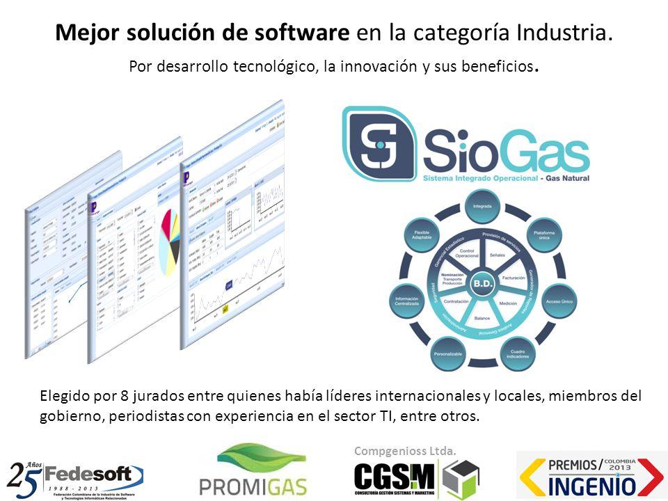 Mejor solución de software en la categoría Industria. Por desarrollo tecnológico, la innovación y sus beneficios. Compgenioss Ltda. Elegido por 8 jura