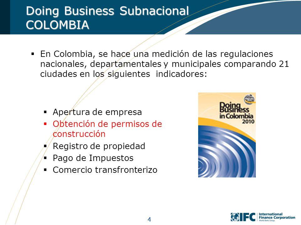 4 Apertura de empresa Obtención de permisos de construcción Registro de propiedad Pago de Impuestos Comercio transfronterizo En Colombia, se hace una