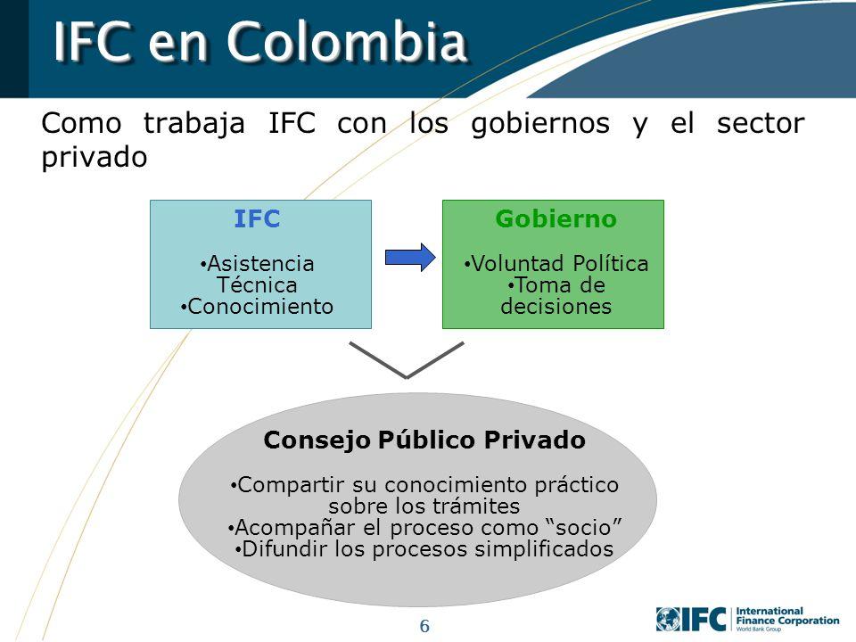 6 IFC en Colombia Como trabaja IFC con los gobiernos y el sector privado IFC Asistencia Técnica Conocimiento Gobierno Voluntad Política Toma de decisi