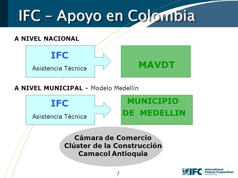 7 A NIVEL NACIONAL IFC – Apoyo en Colombia IFC Asistencia Técnica MAVDT A NIVEL MUNICIPAL – Modelo Medellín IFC Asistencia Técnica MUNICIPIO DE MEDELL