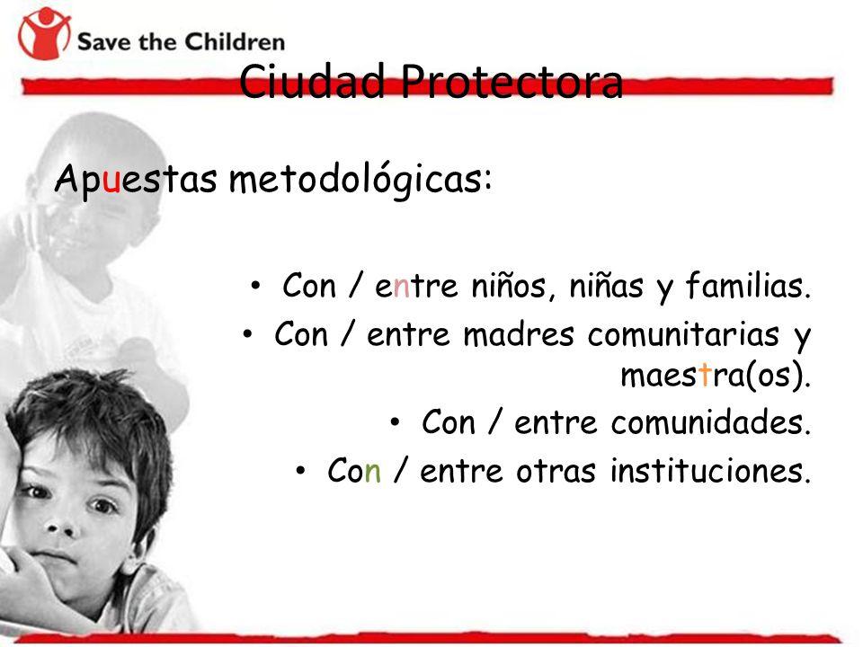 Apuestas metodológicas: Con / entre niños, niñas y familias. Con / entre madres comunitarias y maestra(os). Con / entre comunidades. Con / entre otras