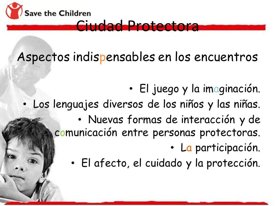 Ciudad Protectora Aspectos indispensables en los encuentros El juego y la imaginación. Los lenguajes diversos de los niños y las niñas. Nuevas formas