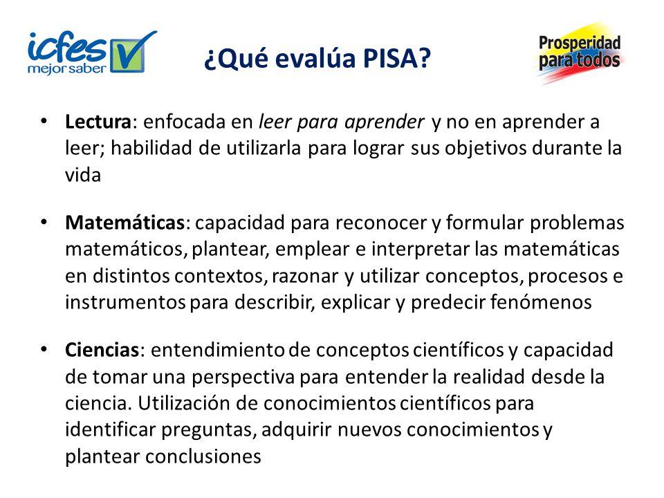 ¿Qué evalúa PISA? Lectura: enfocada en leer para aprender y no en aprender a leer; habilidad de utilizarla para lograr sus objetivos durante la vida M