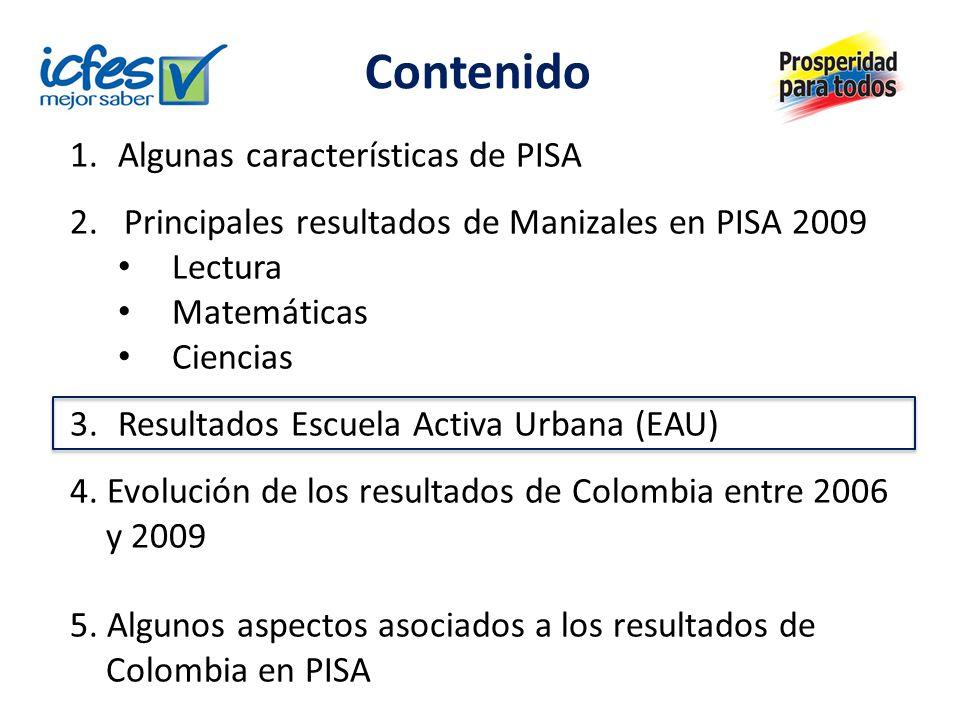 Contenido 1. Algunas características de PISA 2.Principales resultados de Manizales en PISA 2009 Lectura Matemáticas Ciencias 3.Resultados Escuela Acti