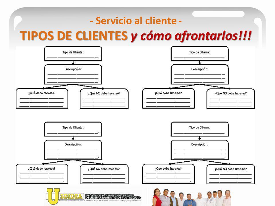 TIPOS DE CLIENTES y cómo afrontarlos!!! - Servicio al cliente - TIPOS DE CLIENTES y cómo afrontarlos!!!