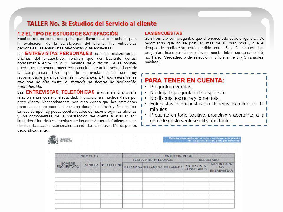 TALLER No. 3: Estudios del Servicio al cliente 1.2 EL TIPO DE ESTUDIO DE SATISFACCIÓN Existen tres opciones principales para llevar a cabo el estudio