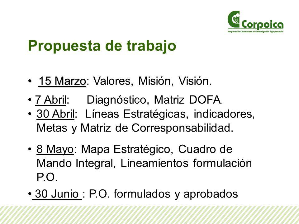Propuesta de trabajo 15 Marzo 15 Marzo: Valores, Misión, Visión. 7 Abril: Diagnóstico, Matriz DOFA. 30 Abril: Líneas Estratégicas, indicadores, Metas