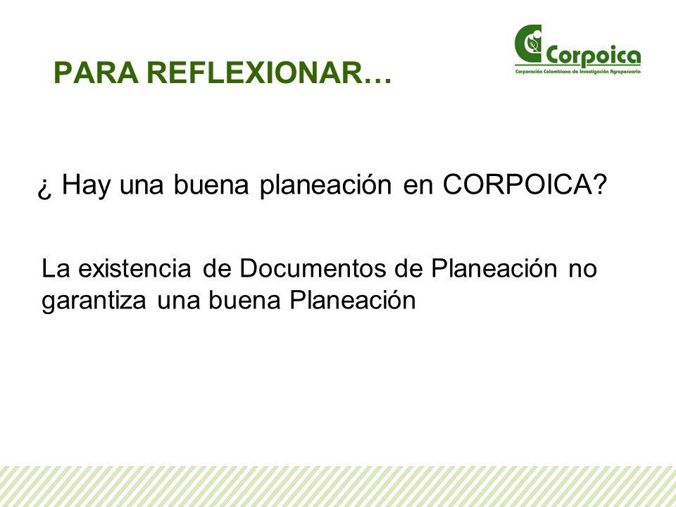 PARA REFLEXIONAR… ¿ Hay una buena planeación en CORPOICA? La existencia de Documentos de Planeación no garantiza una buena Planeación