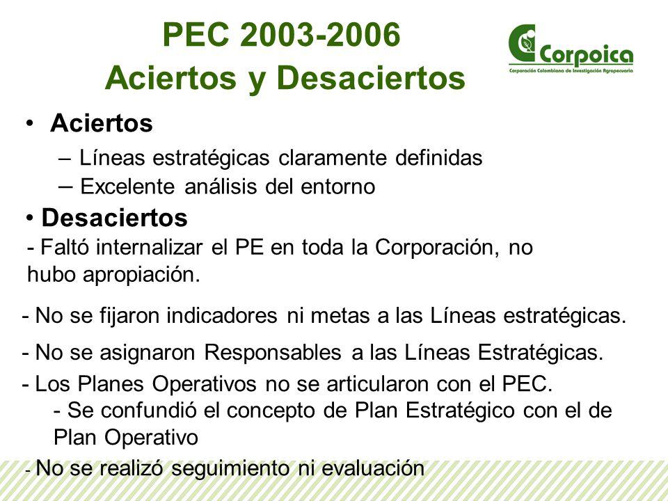 PEC 2003-2006 Aciertos y Desaciertos Aciertos –Líneas estratégicas claramente definidas – Excelente análisis del entorno Desaciertos - Faltó internali