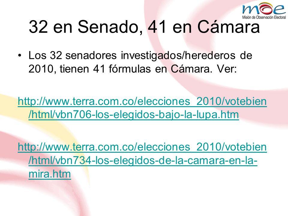 32 en Senado, 41 en Cámara Los 32 senadores investigados/herederos de 2010, tienen 41 fórmulas en Cámara. Ver: http://www.terra.com.co/elecciones_2010