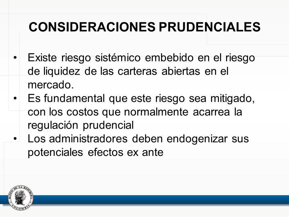CONSIDERACIONES PRUDENCIALES Existe riesgo sistémico embebido en el riesgo de liquidez de las carteras abiertas en el mercado. Es fundamental que este