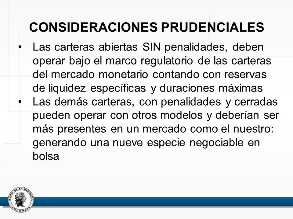 CONSIDERACIONES PRUDENCIALES Las carteras abiertas SIN penalidades, deben operar bajo el marco regulatorio de las carteras del mercado monetario conta