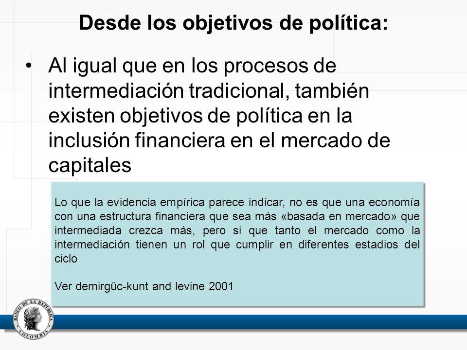 Desde los objetivos de política: Al igual que en los procesos de intermediación tradicional, también existen objetivos de política en la inclusión fin