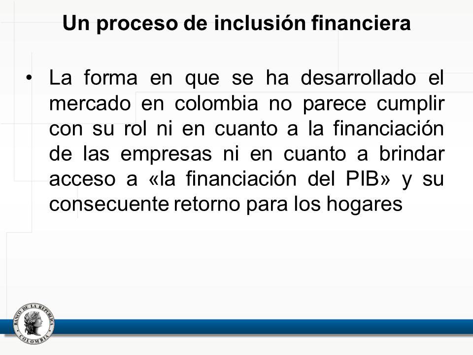 Un proceso de inclusión financiera La forma en que se ha desarrollado el mercado en colombia no parece cumplir con su rol ni en cuanto a la financiaci