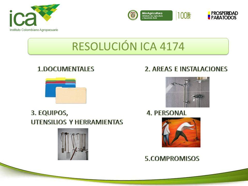 PROSPERIDAD PARA TODOS ca Instituto Colombiano Agropecuario MinAgricultura Ministerio de Agricultura y Desarrollo Rural PROSPERIDAD PARA TODOS ca Instituto Colombiano Agropecuario MinAgricultura Ministerio de Agricultura y Desarrollo Rural RESOLUCIÓN ICA 4174