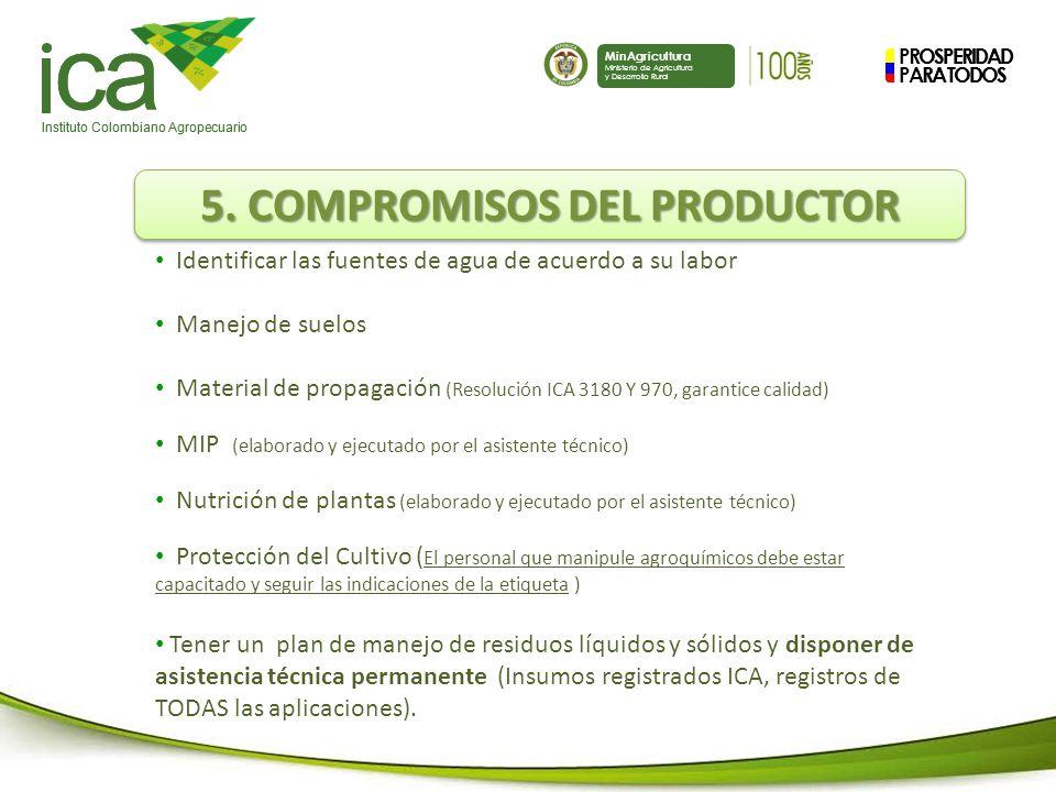 PROSPERIDAD PARA TODOS ca Instituto Colombiano Agropecuario MinAgricultura Ministerio de Agricultura y Desarrollo Rural PROSPERIDAD PARA TODOS ca Instituto Colombiano Agropecuario MinAgricultura Ministerio de Agricultura y Desarrollo Rural 5.