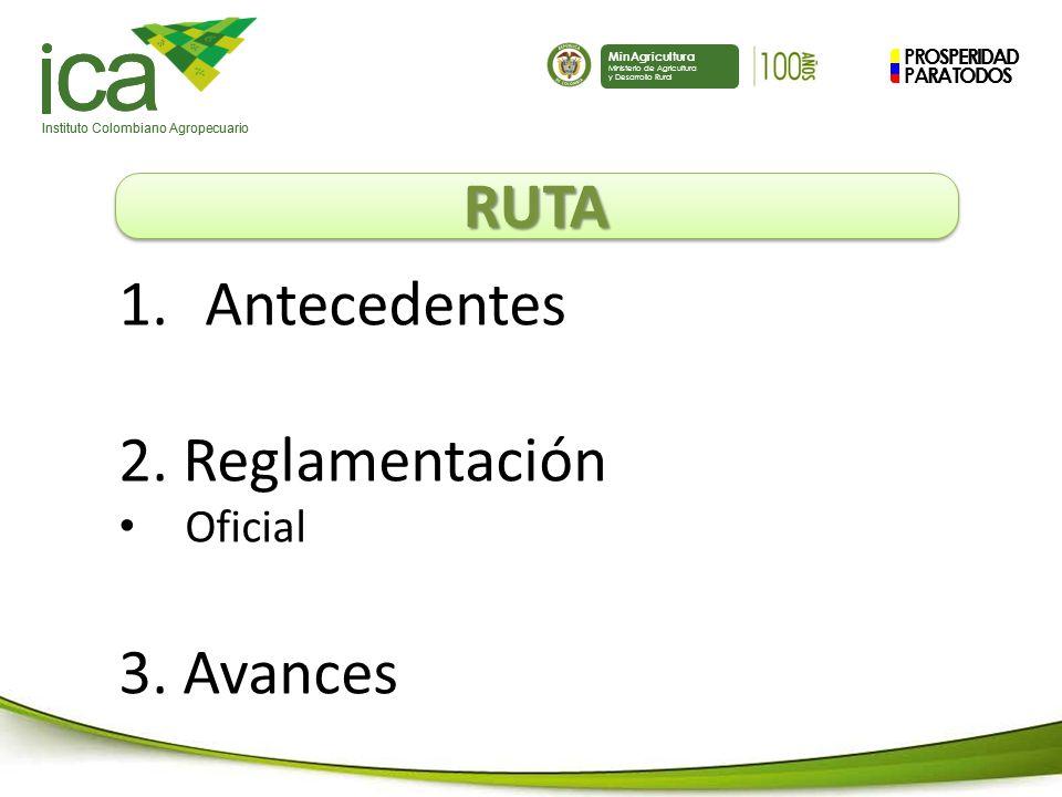 PROSPERIDAD PARA TODOS ca Instituto Colombiano Agropecuario MinAgricultura Ministerio de Agricultura y Desarrollo Rural PROSPERIDAD PARA TODOS ca Instituto Colombiano Agropecuario MinAgricultura Ministerio de Agricultura y Desarrollo Rural RUTARUTA 1.Antecedentes 2.