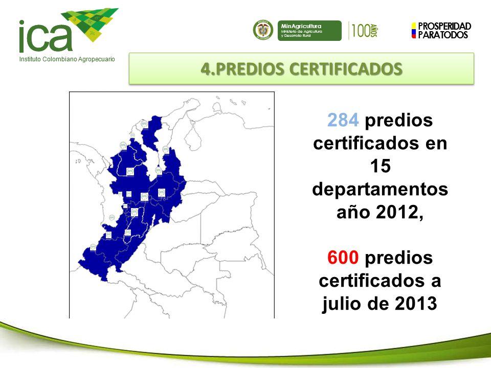 PROSPERIDAD PARA TODOS ca Instituto Colombiano Agropecuario MinAgricultura Ministerio de Agricultura y Desarrollo Rural PROSPERIDAD PARA TODOS ca Instituto Colombiano Agropecuario MinAgricultura Ministerio de Agricultura y Desarrollo Rural 284 predios certificados en 15 departamentos año 2012, 600 predios certificados a julio de 2013 4.PREDIOS CERTIFICADOS