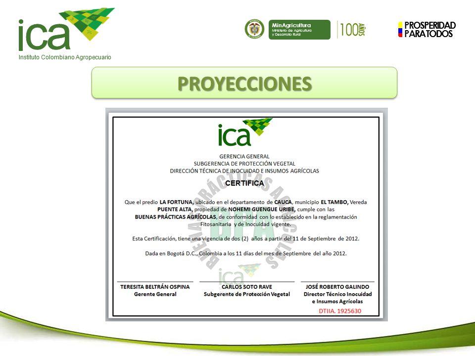 PROSPERIDAD PARA TODOS ca Instituto Colombiano Agropecuario MinAgricultura Ministerio de Agricultura y Desarrollo Rural PROSPERIDAD PARA TODOS ca Instituto Colombiano Agropecuario MinAgricultura Ministerio de Agricultura y Desarrollo Rural PROYECCIONESPROYECCIONES