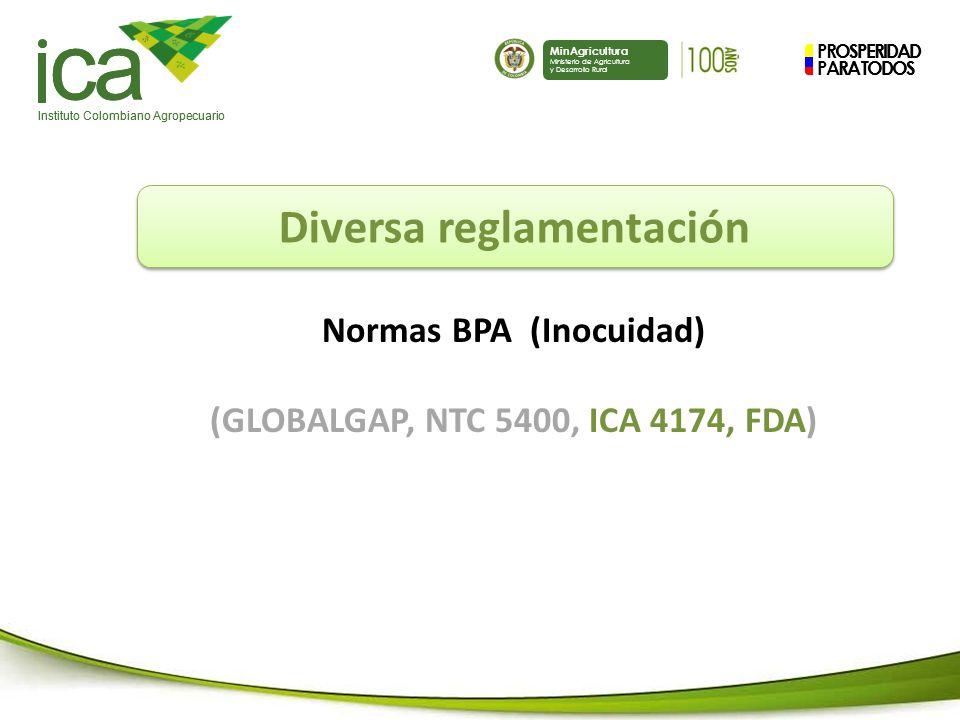 PROSPERIDAD PARA TODOS ca Instituto Colombiano Agropecuario MinAgricultura Ministerio de Agricultura y Desarrollo Rural PROSPERIDAD PARA TODOS ca Instituto Colombiano Agropecuario MinAgricultura Ministerio de Agricultura y Desarrollo Rural Diversa reglamentación Normas BPA (Inocuidad) (GLOBALGAP, NTC 5400, ICA 4174, FDA)