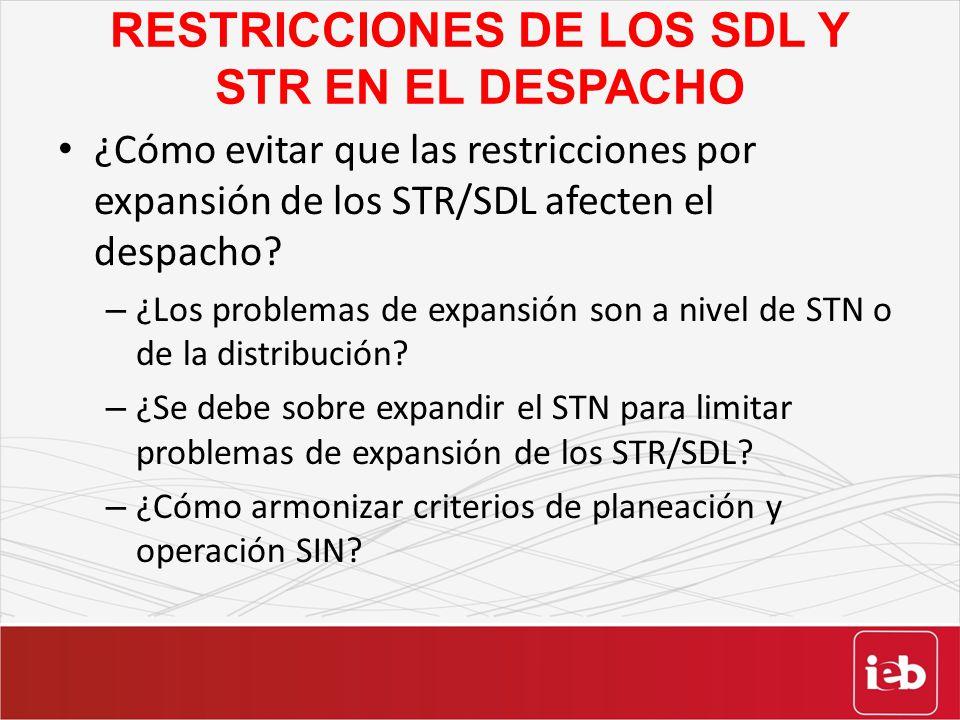 RESTRICCIONES DE LOS SDL Y STR EN EL DESPACHO ¿Cómo evitar que las restricciones por expansión de los STR/SDL afecten el despacho? – ¿Los problemas de