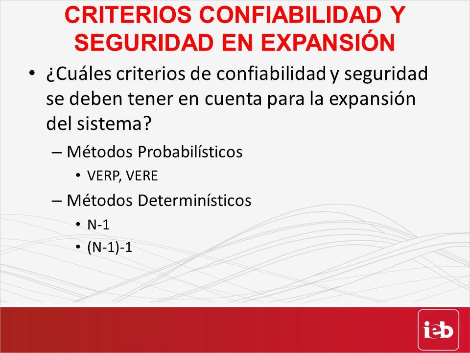 CRITERIOS CONFIABILIDAD Y SEGURIDAD EN EXPANSIÓN ¿Cuáles criterios de confiabilidad y seguridad se deben tener en cuenta para la expansión del sistema