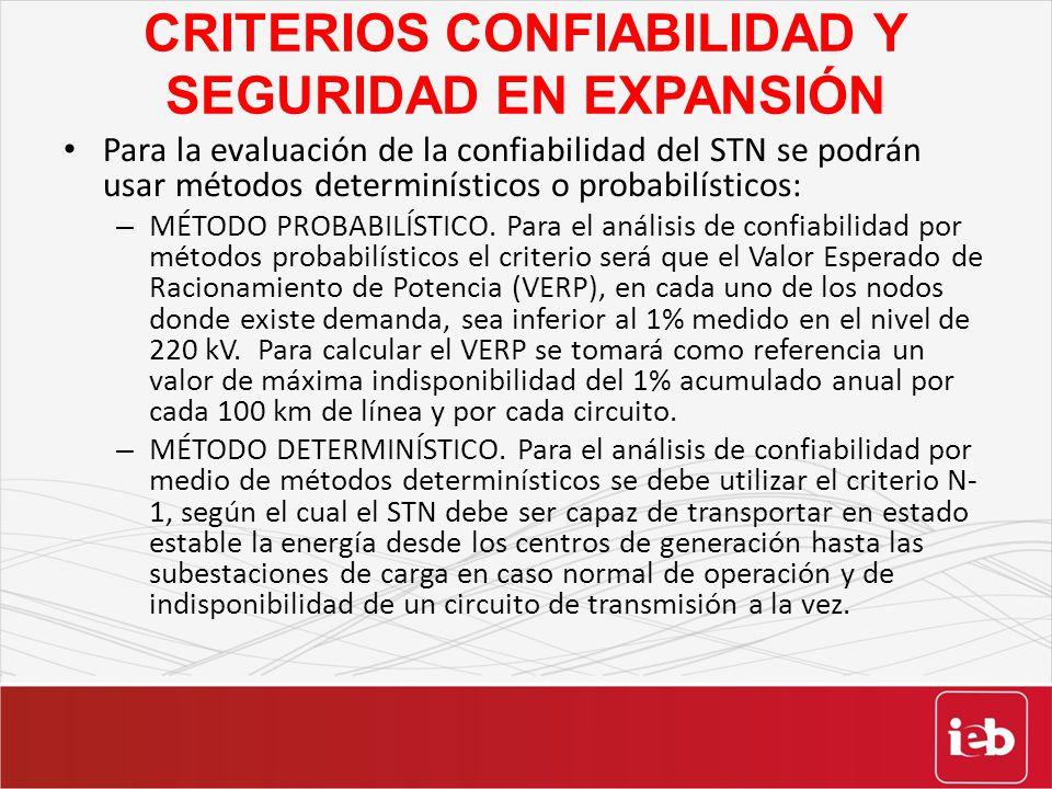 CRITERIOS CONFIABILIDAD Y SEGURIDAD EN EXPANSIÓN Para la evaluación de la confiabilidad del STN se podrán usar métodos determinísticos o probabilístic