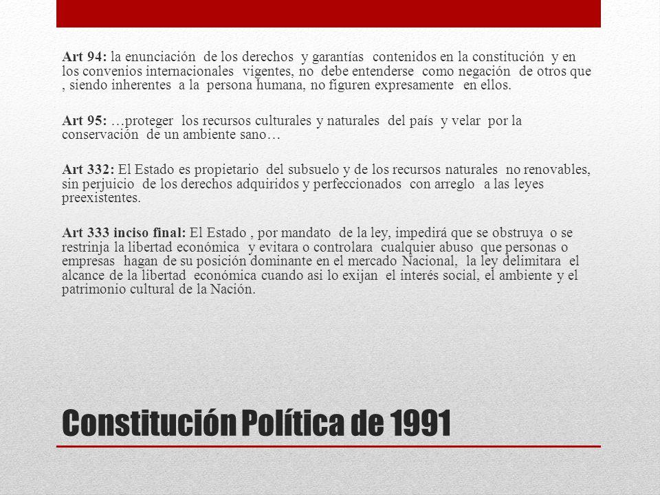 Constitución Política de 1991 Art 94: la enunciación de los derechos y garantías contenidos en la constitución y en los convenios internacionales vige