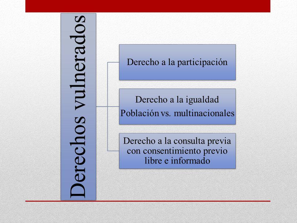 Derechos vulnerados Derecho a la participación Derecho a la igualdad Población vs. multinacionales Derecho a la consulta previa con consentimiento pre
