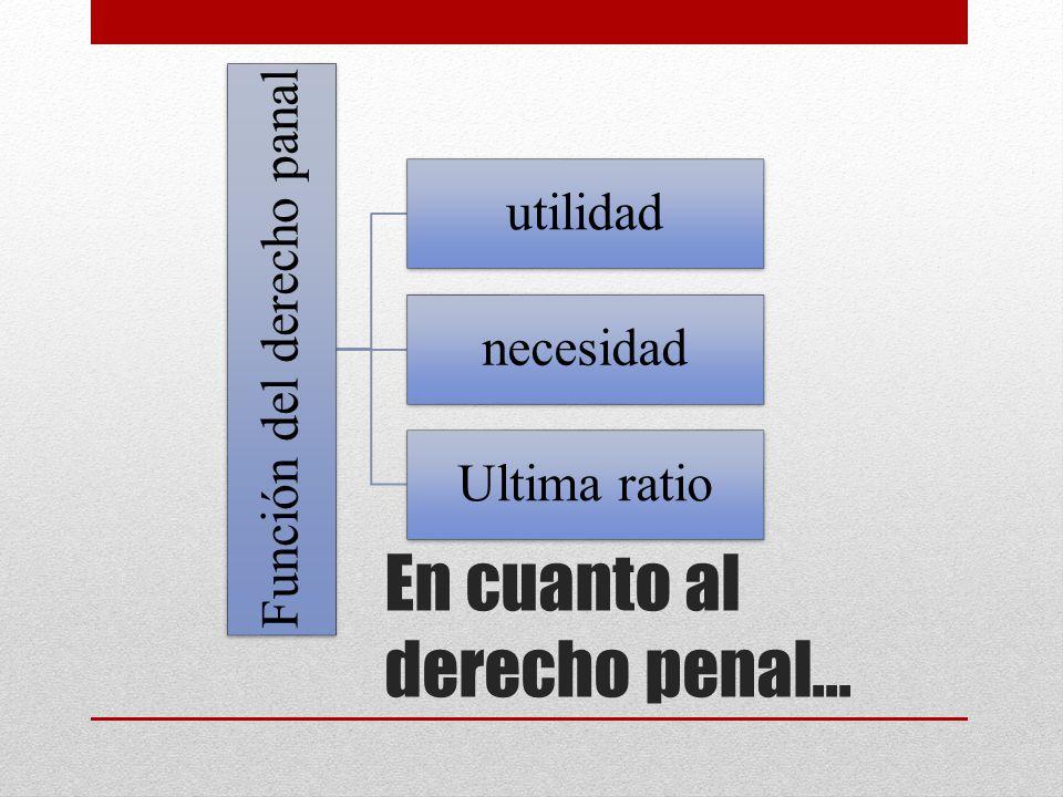 En cuanto al derecho penal… Función del derecho panal utilidad necesidad Ultima ratio