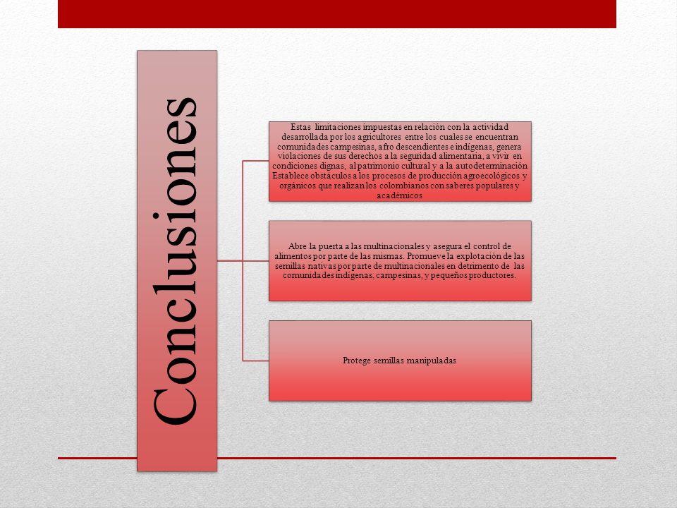 Conclusiones Estas limitaciones impuestas en relación con la actividad desarrollada por los agricultores entre los cuales se encuentran comunidades ca