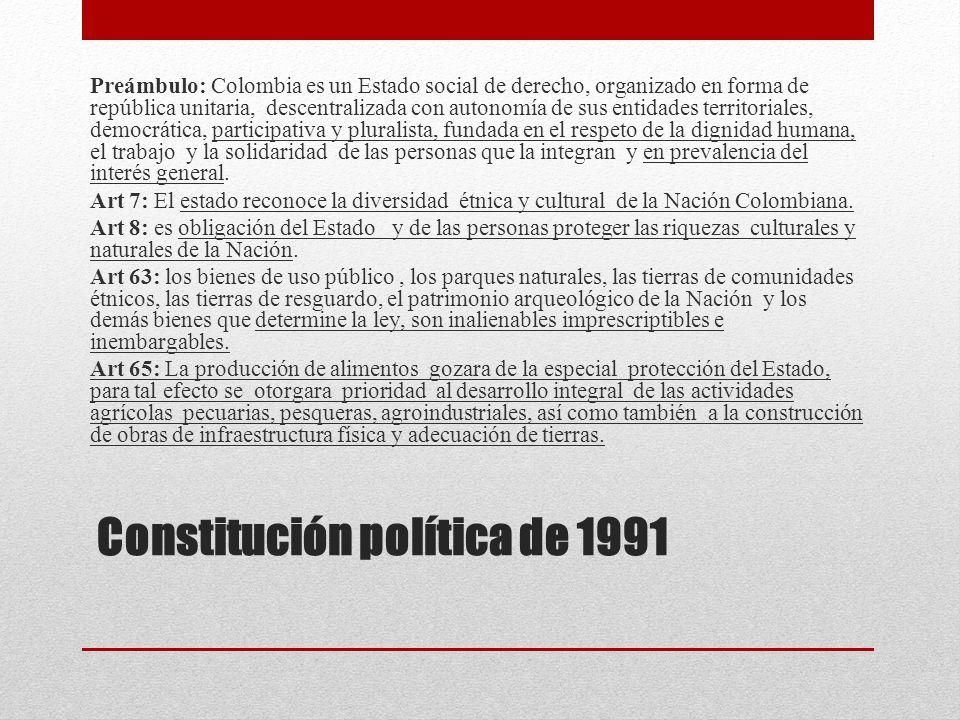 Constitución política de 1991 Preámbulo: Colombia es un Estado social de derecho, organizado en forma de república unitaria, descentralizada con auton