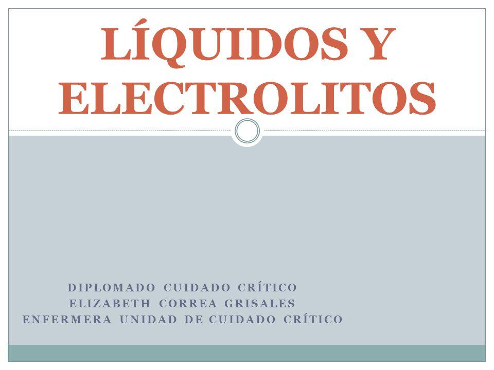 DIPLOMADO CUIDADO CRÍTICO ELIZABETH CORREA GRISALES ENFERMERA UNIDAD DE CUIDADO CRÍTICO LÍQUIDOS Y ELECTROLITOS