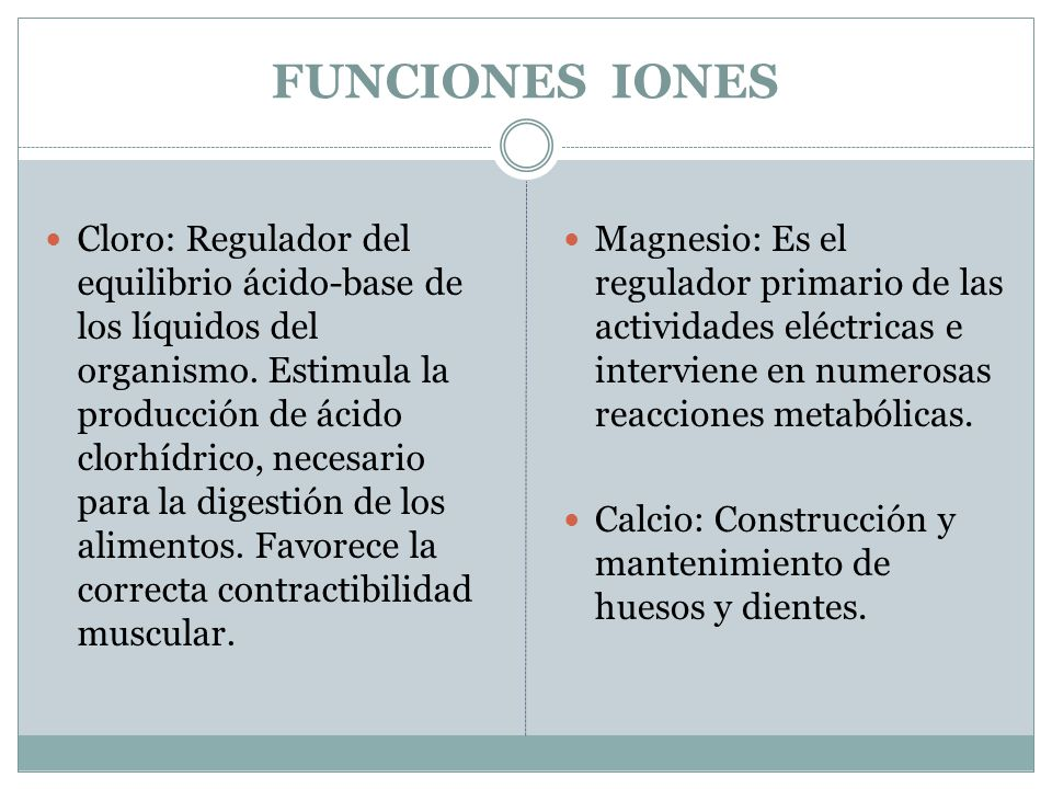 FUNCIONES IONES Cloro: Regulador del equilibrio ácido-base de los líquidos del organismo. Estimula la producción de ácido clorhídrico, necesario para