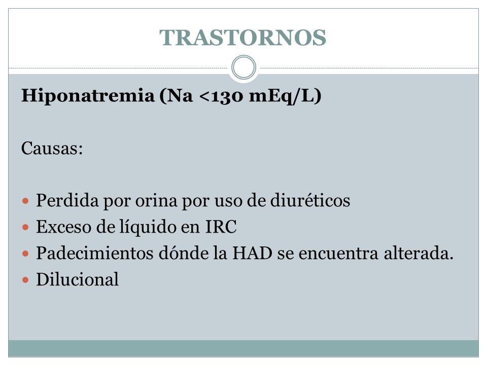 TRASTORNOS Hiponatremia (Na <130 mEq/L) Causas: Perdida por orina por uso de diuréticos Exceso de líquido en IRC Padecimientos dónde la HAD se encuentra alterada.