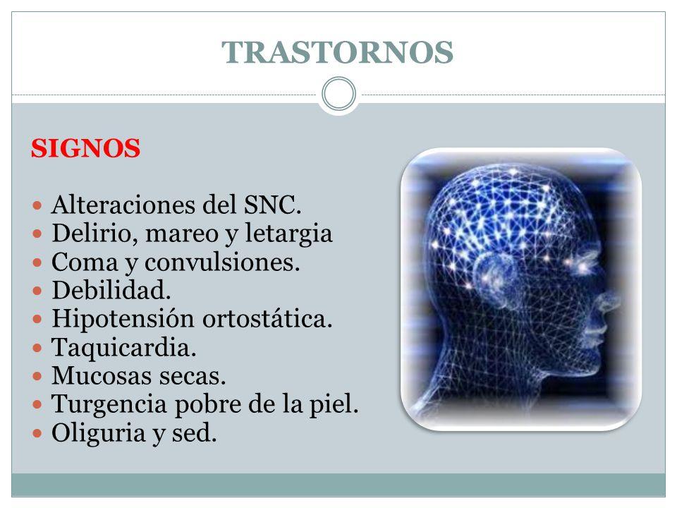 TRASTORNOS SIGNOS Alteraciones del SNC. Delirio, mareo y letargia Coma y convulsiones. Debilidad. Hipotensión ortostática. Taquicardia. Mucosas secas.