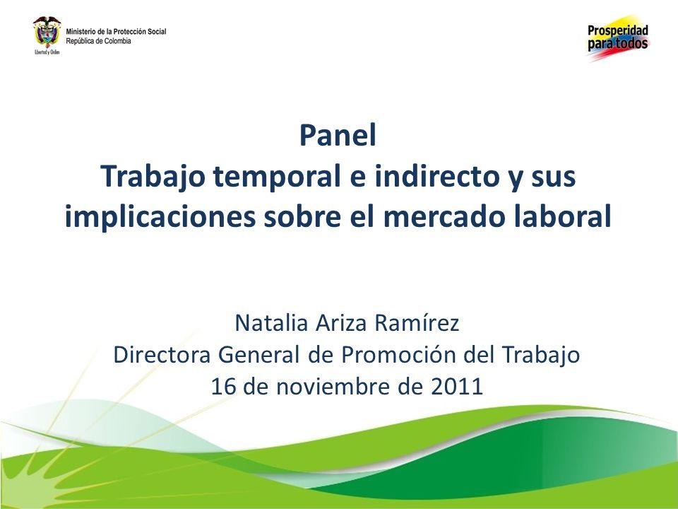 Panel Trabajo temporal e indirecto y sus implicaciones sobre el mercado laboral Natalia Ariza Ramírez Directora General de Promoción del Trabajo 16 de