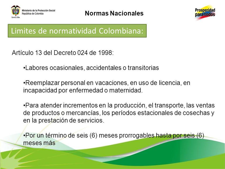 Artículo 13 del Decreto 024 de 1998: Labores ocasionales, accidentales o transitorias Reemplazar personal en vacaciones, en uso de licencia, en incapa