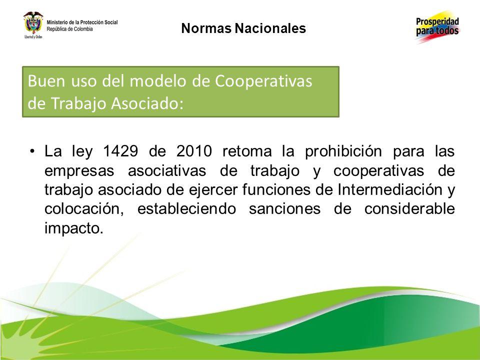 La ley 1429 de 2010 retoma la prohibición para las empresas asociativas de trabajo y cooperativas de trabajo asociado de ejercer funciones de Intermed