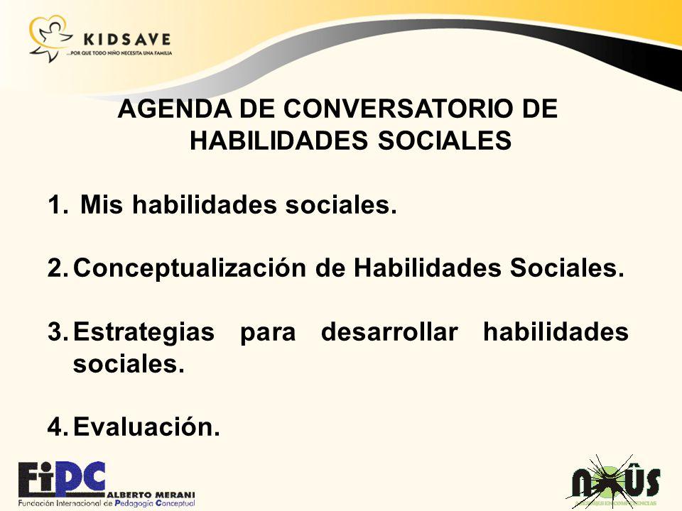 AGENDA DE CONVERSATORIO DE HABILIDADES SOCIALES 1. Mis habilidades sociales. 2.Conceptualización de Habilidades Sociales. 3.Estrategias para desarroll